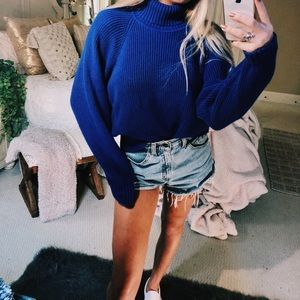 Sweaters - cobalt cropped turtleneck knit